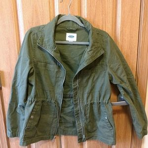 Army Green Jacket Drawstring Waist Defining